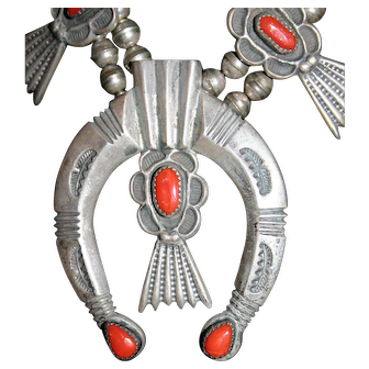 Vintage Navajo Silver and Coral Squash Blossom Necklace