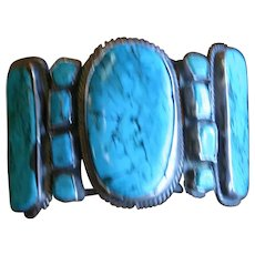Navajo Cuff Bracelet - Huge - Old  - Beautiful Turquoise