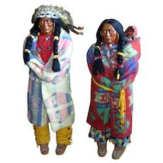 Native American 1930s Pair of Three Foot Tall Skookums - Chief, Bride, Baby