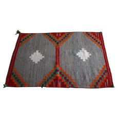 Native American Navajo Rug - Double Saddle blanket - Teec Nos Pos - 1920s