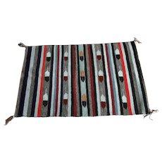 Native American Textile - Rug - Single Saddle Blanket - Crystal - Feathers