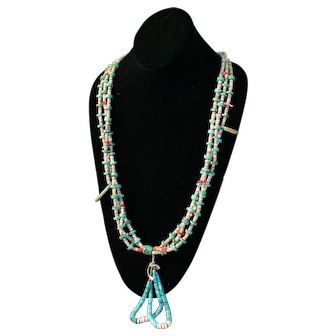 Native American Necklace - Three Strand Heishi, Turquoise, Coral w/Joclas - Vintage