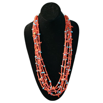 Native American Necklace - 6 Strand Coral with Turquoise Tabs and Brass Balls - Vintage