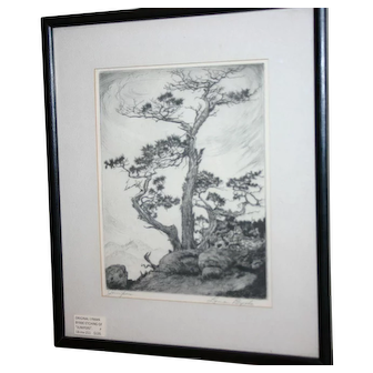 "Lyman Byxbe - ""Juniper"" Original signed Etching"
