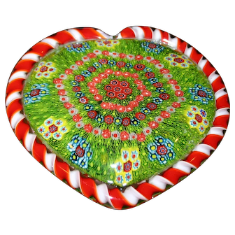 The Best Millefiori Paper Weight - Extra Large Heart - Amazing