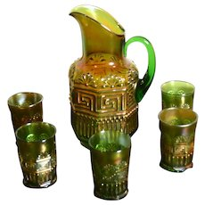 Fabulous Northwood Green Greek Key Pitcher and Five Tumblers - Water Set