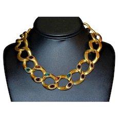 Glamour Bejeweled Mogul Embellished LES BERNARD Bold RUnway Matte Necklace ND13