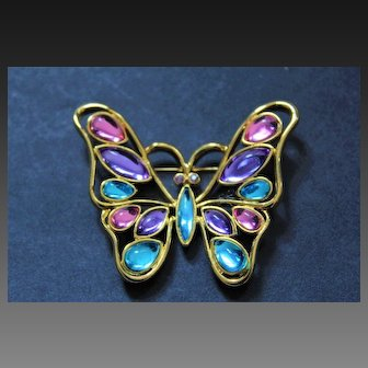 Opulent TRIFARI TM Signed Gripoix Glass Gold Tone Butterfly Brooch