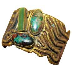 Vintage LUCIANO HECHO MEXICO Modernist Brass Bloodstone Jade Cuff Bracelet BRD1