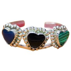 Wonderful Sterling Silver Signed TAXCO MEXICO Lapis Malachite Onyx Cuff Bracelet