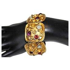 RESERVED EDOUARD RAMBAUD PARIS Designer Haute Couture Gold Tone Rhinestone High End Bracelet BRD2