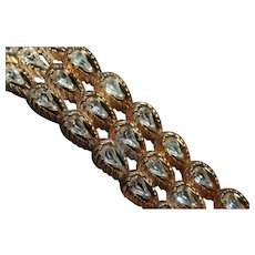Signed HATTIE CARNEGIE Rhinestone Foil Backed Gold Plate Textured Couture Bracelet
