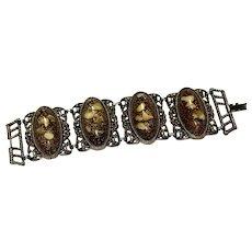 Lavish SELRO SELINI Lucite Speckled Confetti Cabochon Wide Large Bracelet