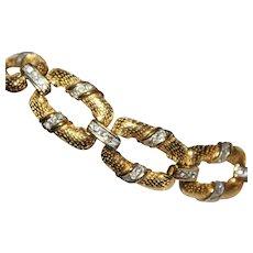 Marvelous Unsigned Designer Gold Plate Textured Pave Rhinestone Bracelet