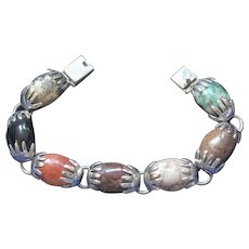 Vintage Sterling Silver Taxco Mexico Bear Claw Multi Stones Bracelet