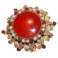 ORIGINAL BY ROBERT Signed Designer Couture Haskell Era Carnelian Brooch