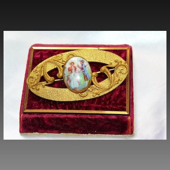 Antique Victorian Porcelain Russian Gilt Large Ornate Pin Brooch