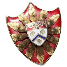 Outstanding Superb HERALDIC BYZANTINE Red Enamel  Gold Tone Shield Family Crest Pendant Brooch