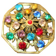 Magnificent Stunning Jeweled Multi Color Rhinestones Gorgeous Spider Web Brooch
