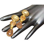 Francesca Romana Designer High End Haute Couture Rutilated Quartz Faceted Dangle Earrings
