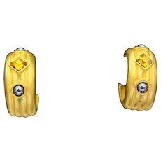 Fabulous Signed DUBINS Gold Plate Hematite Citrine Rhinestones Earrings