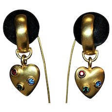 Moghul JEWELS OF INDIA SIGNED LES BERNARD Luxurious Multi Color Designer High End Matte Gold Lavish Heart Earrings