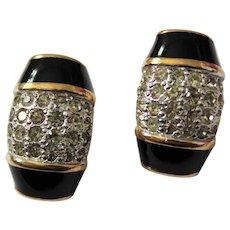 Divine Beauty Signed Panetta Black Enamel Encrusted Pave Rhinestones Gold Plate Earrings