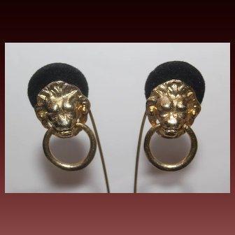 Signed MIMI DI N Magnificent Designer Lion Head Door Knocker Earrings