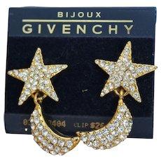 Bewildering Vibrant GIVENCHY BIJOUX Rhinestones Designer Couture Glamorous Half Moon Star Dangle Earrings EM1