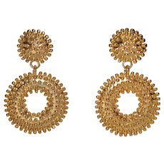 French Couture Gold Plate Textured Dotted Modernist Large Dangle Earrings