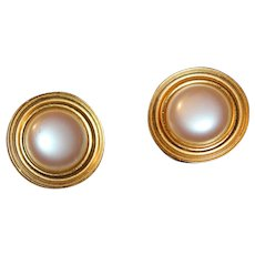 Spectacular Glam signed MONET Massive Gold Plate Matte Faux Pearl Earrings