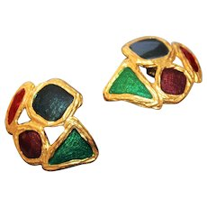 Sensational French Couture Metallic Enamelling Modernist Gold Plate Large Earrings