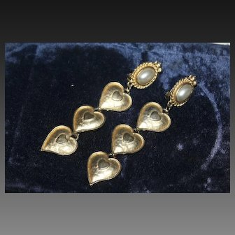 """French Couture Gold Plate 4"""" Long Dangle Faux Pearls Heart Shaped Earrings"""