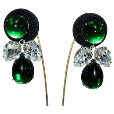 Vintage Bold Runway Emerald Green Poured Glass Acrylic Foil Backed Dangle Large Earrings