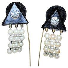 DIVA Signed Designer Haute Couture Faux Pearl Rhinestone Deco Rev 80s Retro Earrings