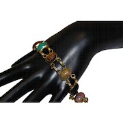 Enchanting Genuine Multi STONES SCARABS Jeweled 12K GOLD Filled Bracelet