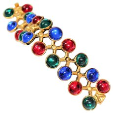 Regal Glam Gripoix Poured Glass French Couture Jewels of India Gold Plate Bracelet