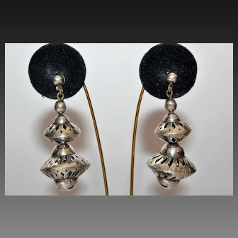 Exquisite Antique Fine Sterling Silver Openwork Large Dangle Earrings