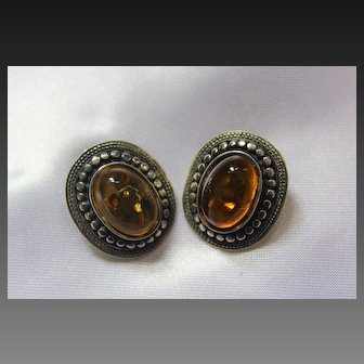 Fine Old Sterling Silver Cognac Amber Cabochon Textured Clip Earrings