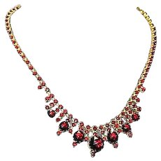 Antique Victorian Czech Bohemian Garnet Gold Gilt Exquisite Necklace