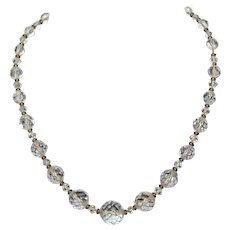 Very Old Vintage Art Deco Fine Sterling Silver Rock Quartz Crystal Faceted Beads Necklace