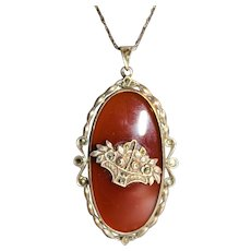 Vintage Art Deco Germany Sterling Silver Fine Marcasites Carnelian Necklace