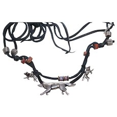 Vintage African Trade Beads Wolf Sterling Silver Charms Cord Necklace