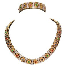 Jewels of India Runway CHRISTIAN DIOR Rhinestones Gripoix Gold Plate Necklace Set