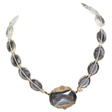 Very Old Vintage Art Deco Faceted Czech Glass Crystal Exquisite Lovely Necklace