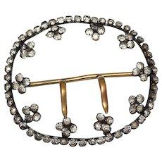 """Antique Victorian Extra Large 4"""" Paste Rhinestone Brass Waist Belt Buckle"""