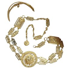 Massive Magnificent Greek Key Gold Plate Luxurious Medusa Long Necklace Belt