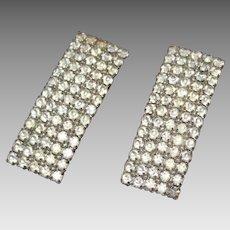 Vintage Art Deco Rev 1940's Signed MUSI Rhinestones Foil Backed Silver Tone Shoe Clips