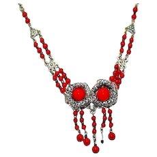 Antique Art Nouveau Red Glass Cabochon Flower Filigree Pot Metal Necklace