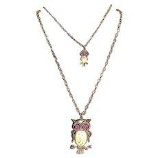 VTG Designer Ceramic Enamel Pink Rhinestone OWLS Cascading Necklace